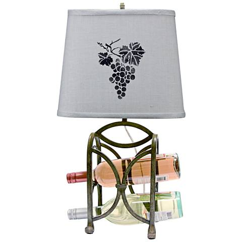 Wine Rack Dark Gray Metal Accent Table Lamp