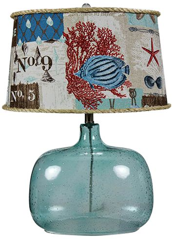 Spa Blue Glass Accent Table Lamp W/ Nautical Patchwork Shade