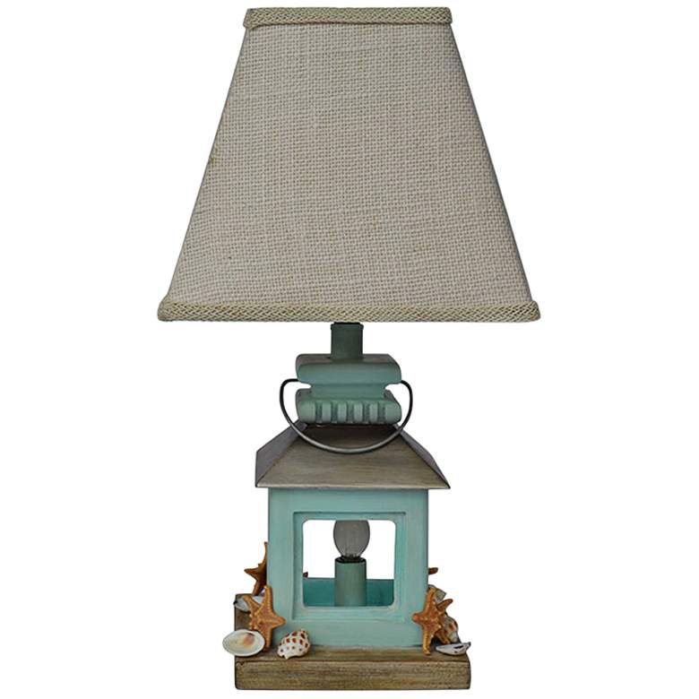 Coastal Blue Lantern Accent Table Lamp with Night Light