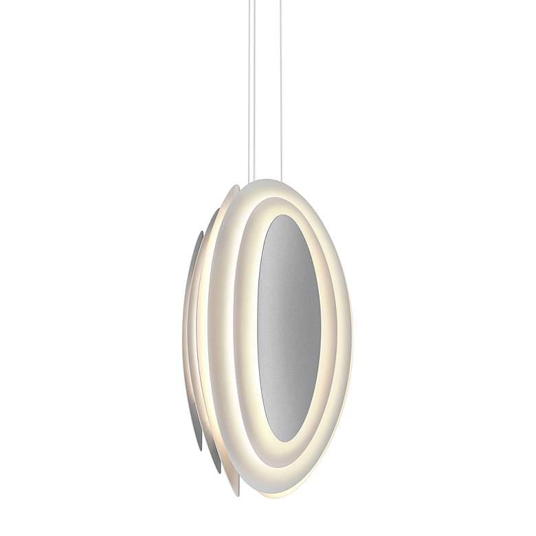 "Abstract Rhythms 12 1/2""W Textured White LED Pendant"