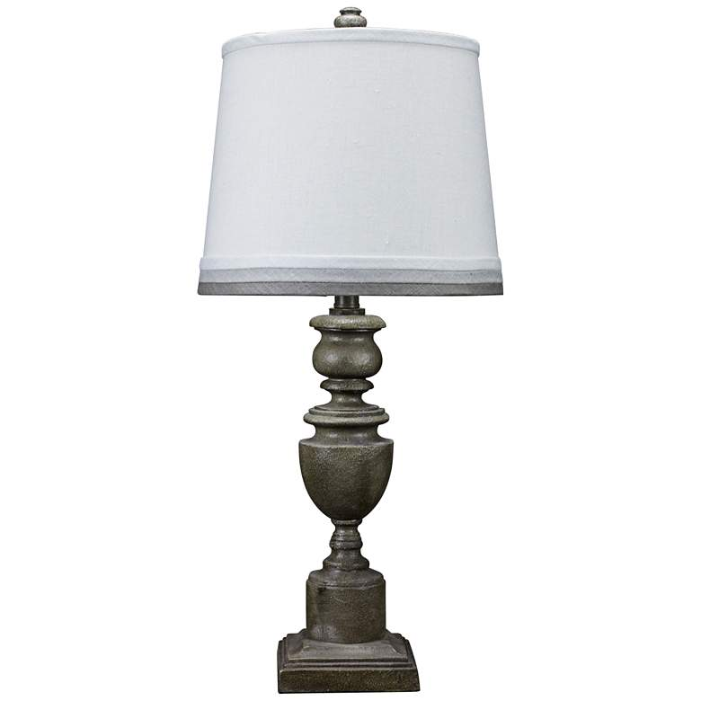 Copen Gray Urn Table Lamp with Gray Trim Shade