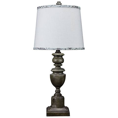 Copen Gray Urn Table Lamp with Gray and Spa Blue Trim Shade
