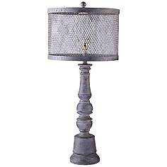 Gray industrial table lamps lamps plus belmont gunmetal table lamp with metal wire mesh shade keyboard keysfo Gallery