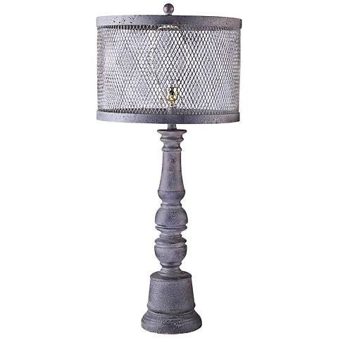 Belmont Gunmetal Table Lamp with Metal Wire Mesh Shade