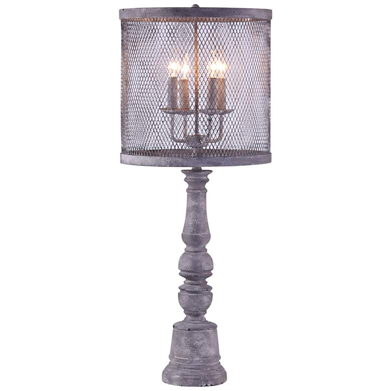 Arlington Gunmetal 4-Light Table Lamp w/ Metal Mesh Shade