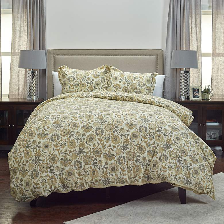 Madame Fleur 3-Piece Tan Twin Comforter Set