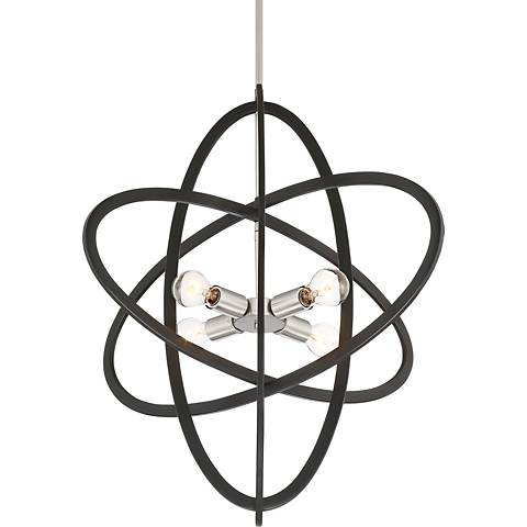 """Pershing 29 1/2""""W Black and Brushed Steel 4-Light Pendant"""