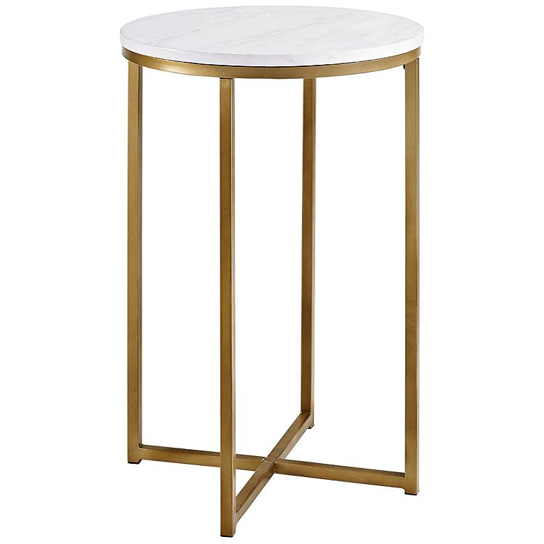 """Aurelia 16"""" Wide Faux Marble and Gold Modern Side Table"""