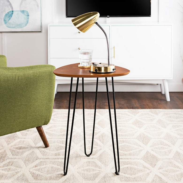 "Salish 18"" Wide Walnut Wood and Metal Modern Side Table"