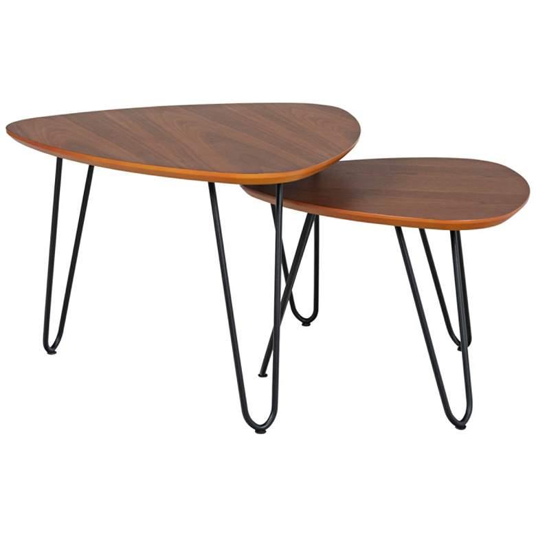Salish Walnut Wood 2-Piece Modern Nesting Coffee Table Set