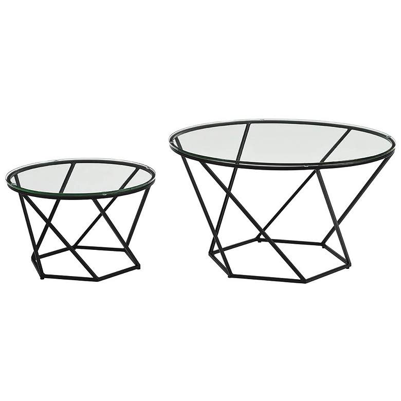 Geometric Glass Round 2-Piece Modern Coffee Table Set