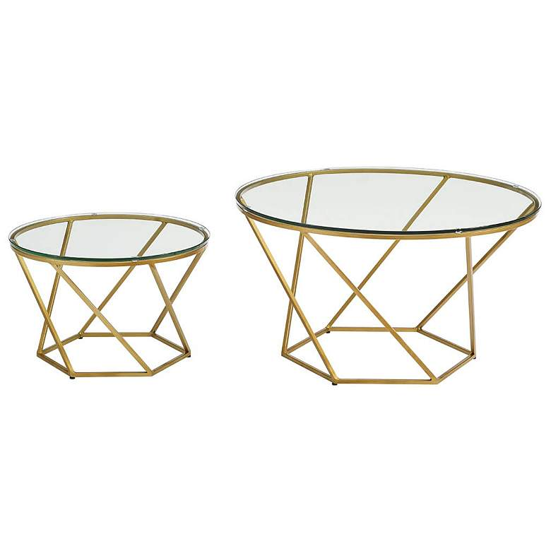 Geometric Glass Top Gold 2-Piece Round Coffee Table Set