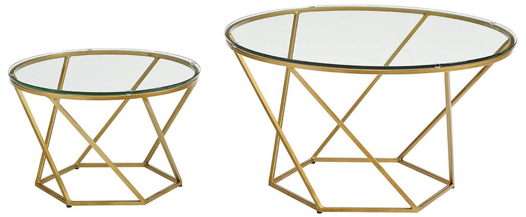 Geometric Glass Top Gold 2 Piece Nesting Coffee Table Set