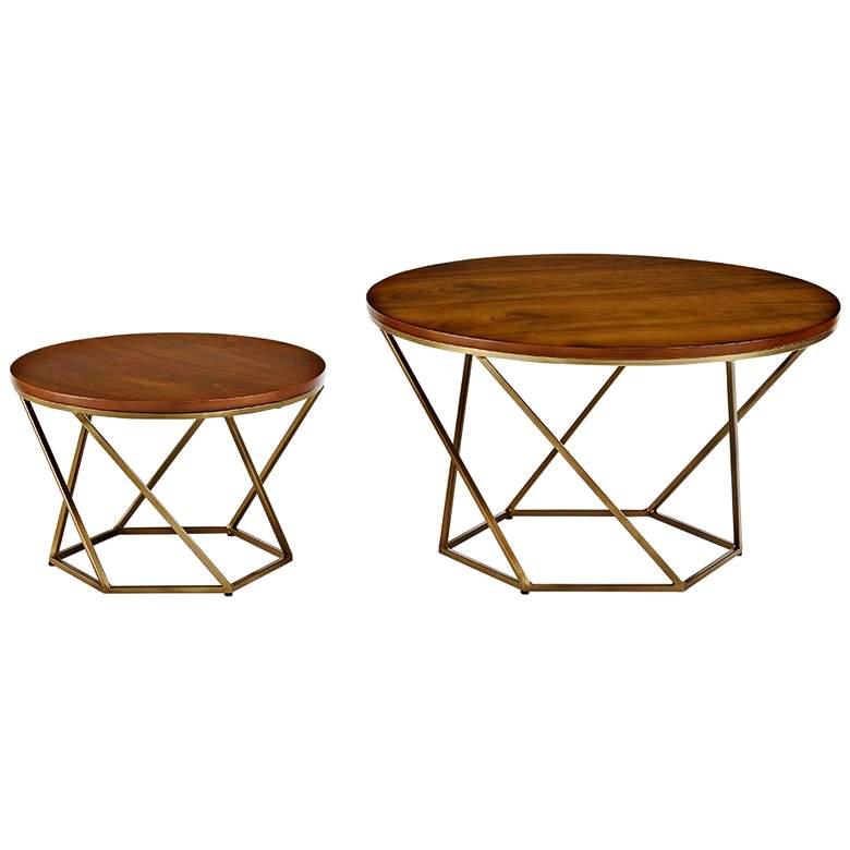 Geometric Walnut and Gold 2-Piece Modern Coffee Table