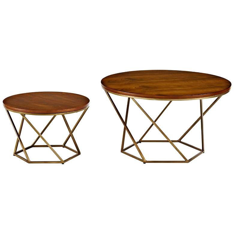 Geometric Walnut and Gold 2-Piece Modern Coffee Table Set