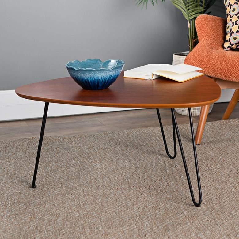 "Salish 32"" Wide Walnut Wood Modern Coffee Table"