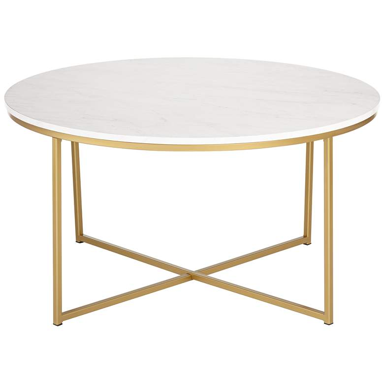 "Aurelia 36"" Wide Faux Marble and Gold Modern Coffee Table"