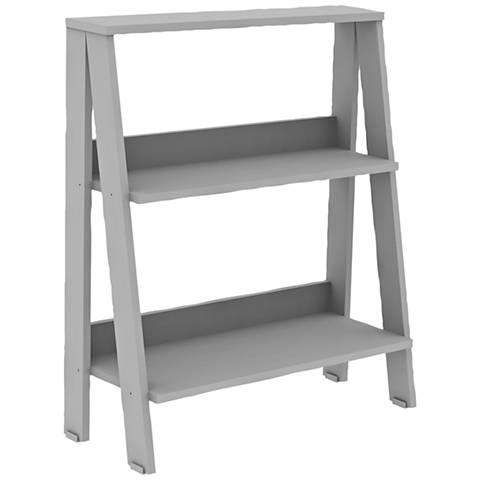 Fargo Gray Wood 2-Shelf Ladder Bookshelf