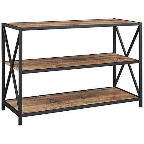 Creston Brown Barnwood Small 2-Shelf Media Bookshelf