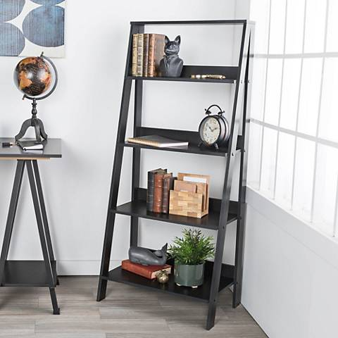 Fargo Black Wood 4-Shelf Ladder Bookshelf