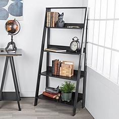"Fargo 55"" High Black Wood 4-Shelf Ladder Bookshelf"