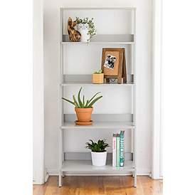 Fargo Gray Wood 4 Shelf Ladder Bookshelf