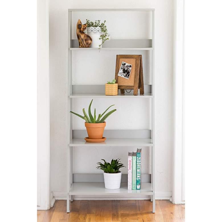 "Fargo 55"" High Gray Wood 4-Shelf Modern Ladder Bookshelf"