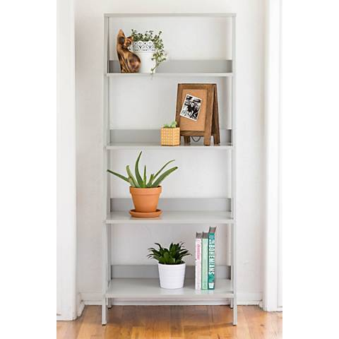 Fargo Gray Wood 4-Shelf Ladder Bookshelf