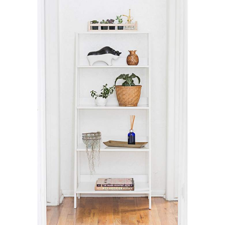"""Fargo 55"""" High White Wood 4-Shelf Ladder Bookshelf"""