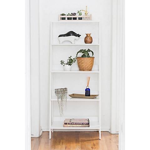 Fargo White Wood 4-Shelf Ladder Bookshelf