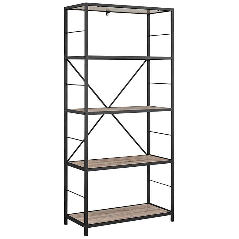 "Creston 63"" High Gray Driftwood 4-Shelf Media Bookshelf"