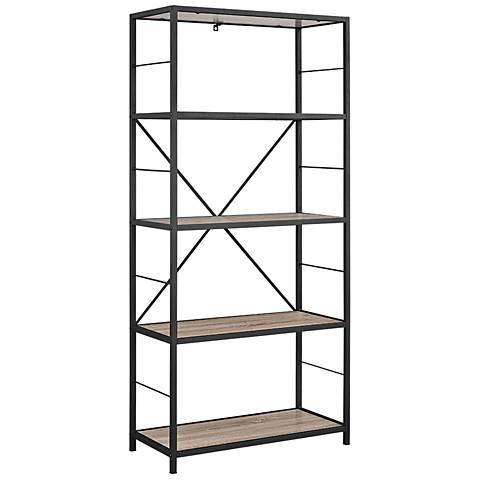 Creston Gray Driftwood 4-Shelf Media Bookshelf