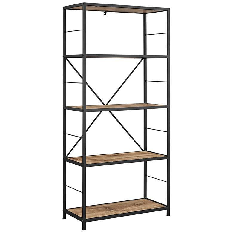 "Creston 63"" High Brown Barn Wood 4-Shelf Media Bookshelf"