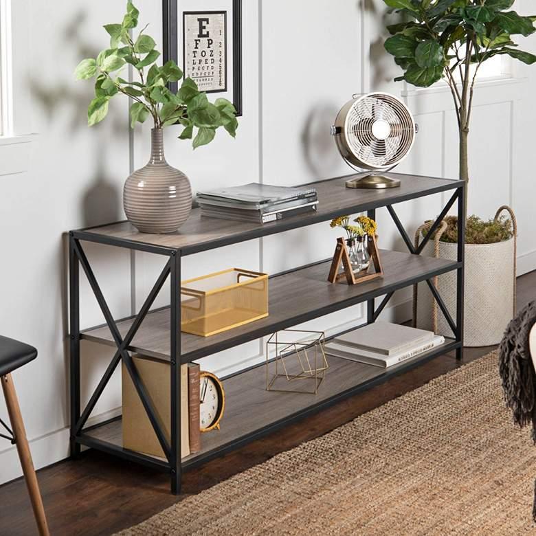 "Creston 60"" Wide Gray Driftwood 3-Shelf Media Bookshelf"