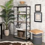 Angle Iron Gray Driftwood 4-Shelf Bookshelf