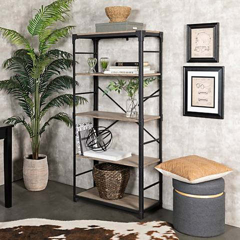 Angle Iron Gray Driftwood 4-Shelf Bookshelf