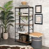 Angle Iron Brown Barnwood 4-Shelf Bookshelf