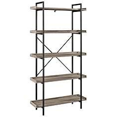 urban pipe gray driftwood 5 shelf bookshelf - Free Standing Bookshelves