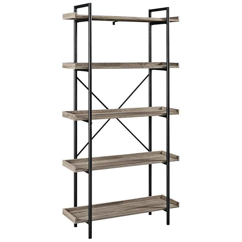 "Urban Pipe 68"" High Gray Driftwood 5-Shelf Bookshelf"
