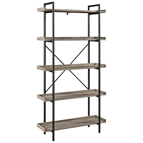 Urban Pipe Gray Driftwood 5-Shelf Bookshelf