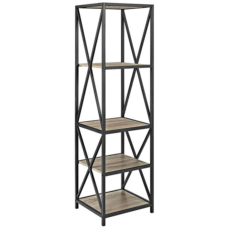 "Soccoro 61"" High Farmhouse Gray Driftwood 4-Shelf Bookshelf"