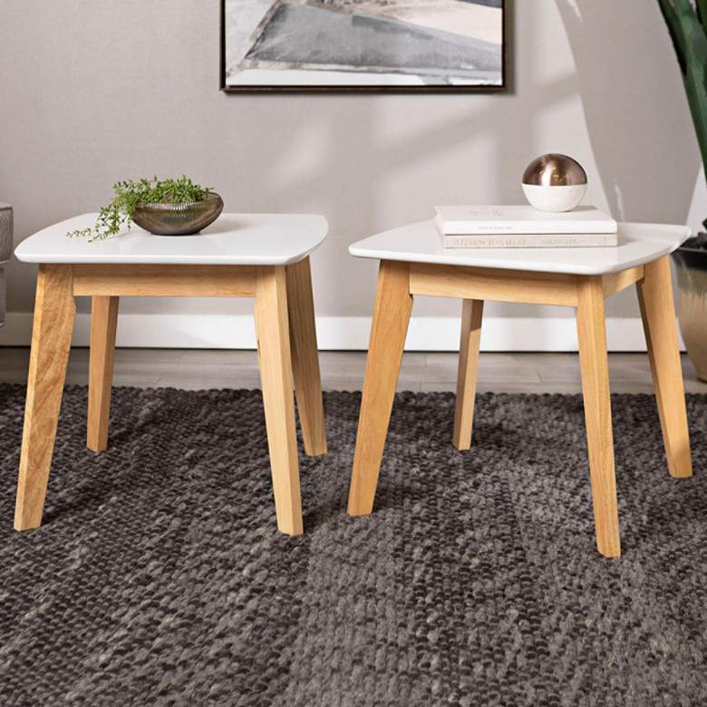 "Retro 20"" Wide White and Wood Modern End Tables Set of 2"
