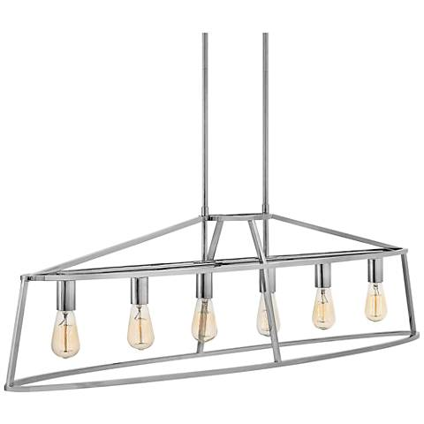 "Middleton 52"" Wide Polished Nickel 6-Light Island Pendant"