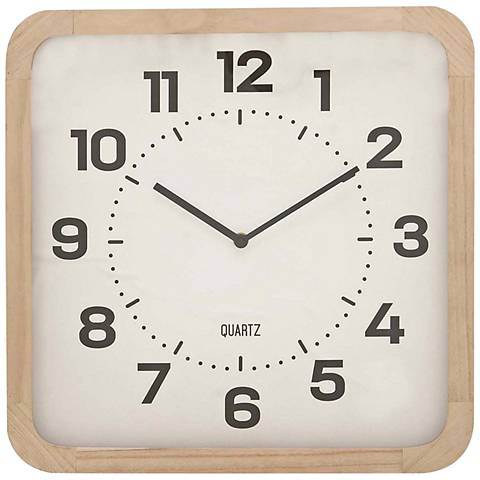 Colton Light Brown Wood and Matte White Front Table Clock