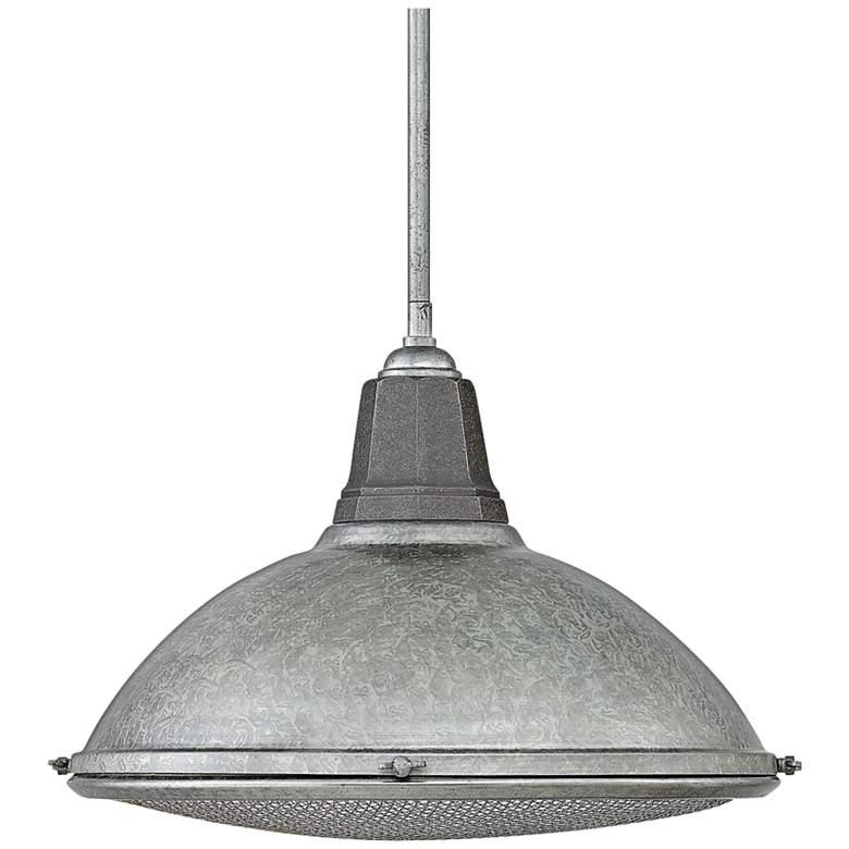 Hinkley Barstow 16 1 4 Wide Galvanized Pendant Light