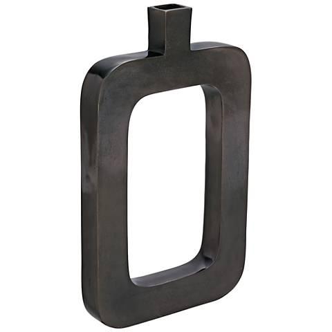 """Ghana 18"""" High Distressed Black Nickel Vase"""