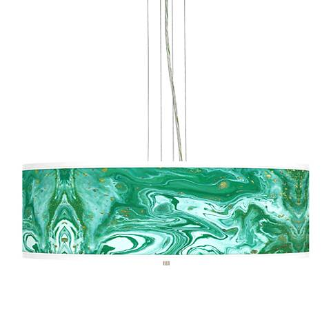 "Malachite Giclee 24"" Wide 4-Light Pendant Chandelier"