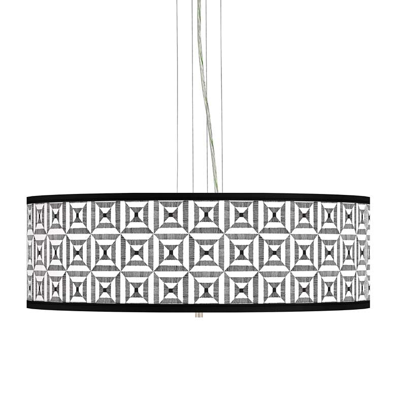 "Tile Illusion Giclee 24"" Wide 4-Light Pendant Chandelier"
