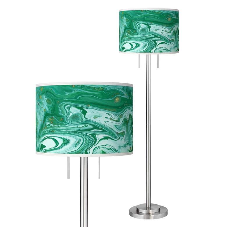 Malachite Giclee Brushed Nickel Garth Floor Lamp