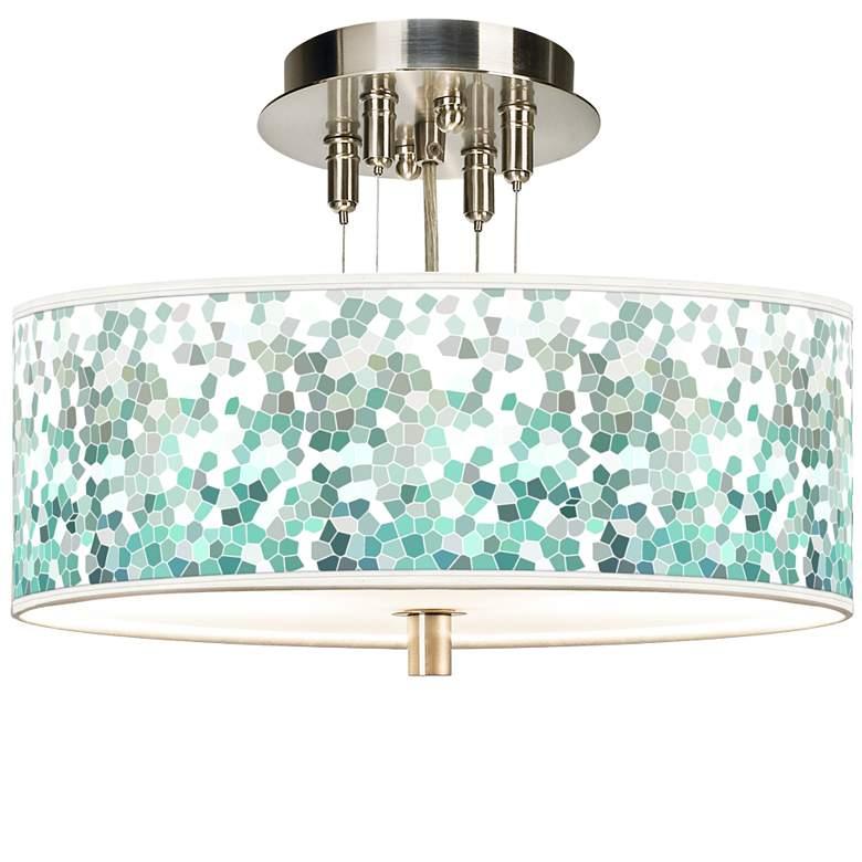 "Aqua Mosaic Giclee 14"" Wide Ceiling Light"